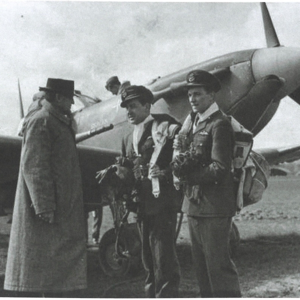 Pilot Officer Aksel (Axle) Andreas Svendsen, RAFVR pictured on the right in front of Spitfire Vb ('Skagen Ind.') of 234 (Madras Presidency) Squadron was born on 21 April 1922 in Copenhagen, Denmark, but moved to Britain with his family in 1928 and grew up